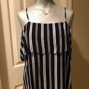 SAKS FIFTH AVENUE Navy and White Striped Top